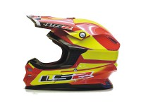 Casque Cross Moto LS2 MX456 Fibre Touareg Jaune Rouge